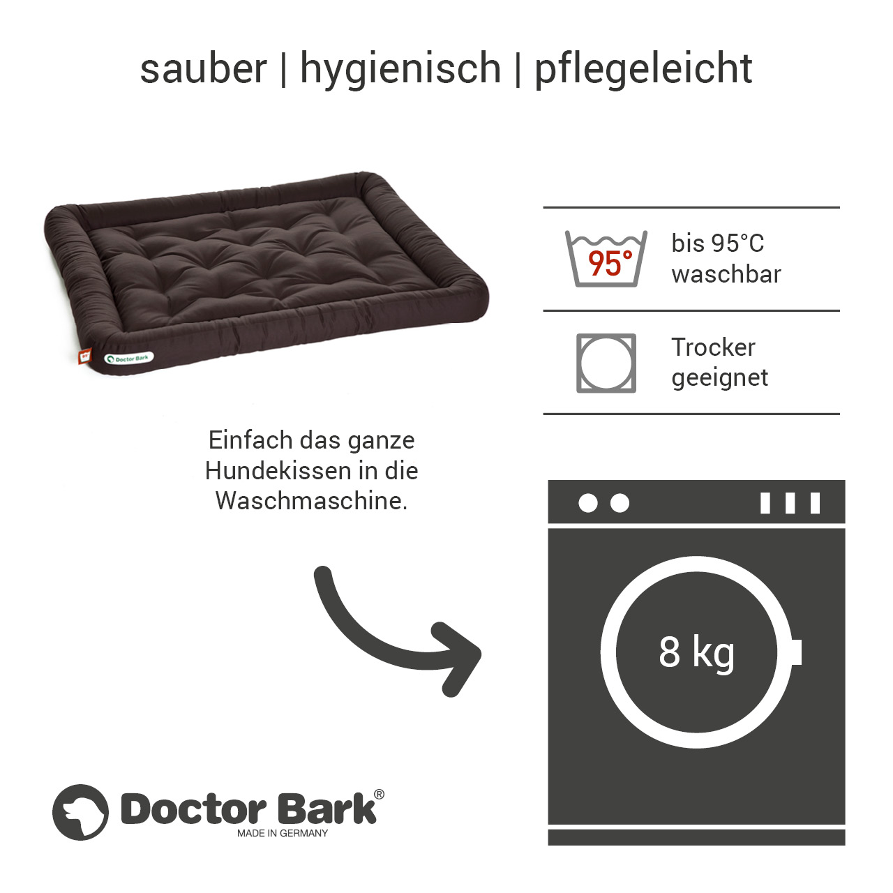 Lounge-Hundekissen / Hundebett orthopädisch Doctor Bark waschbar braun - Gr. XL