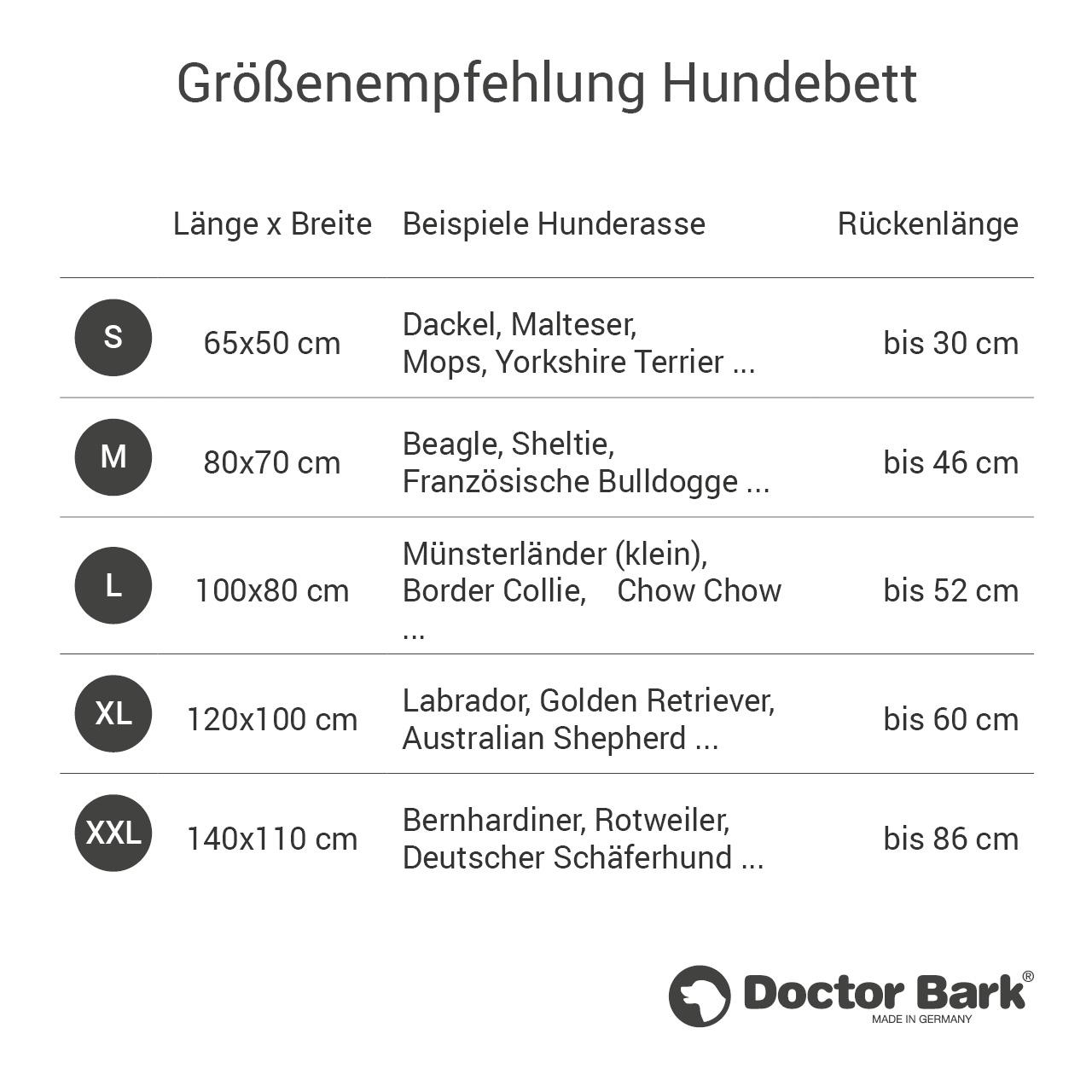 eckiges Doctor Bark Hundebett mit Rand Gr. S - hellgrau