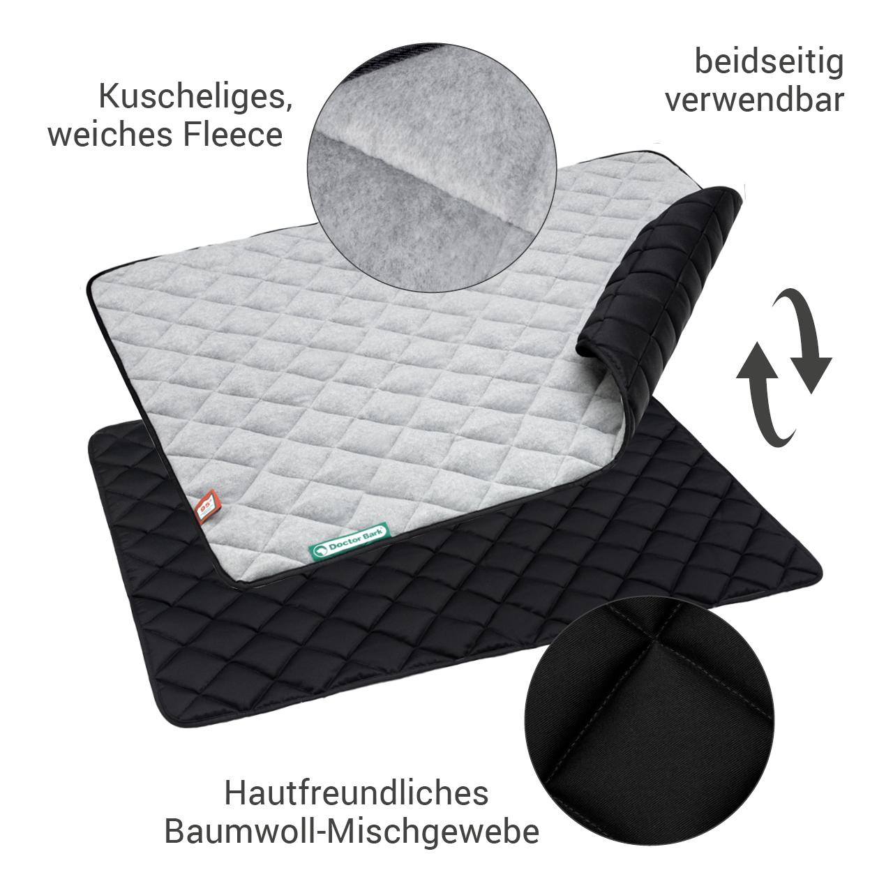Fleece-Steppdecke grau - waterproof schwarz L