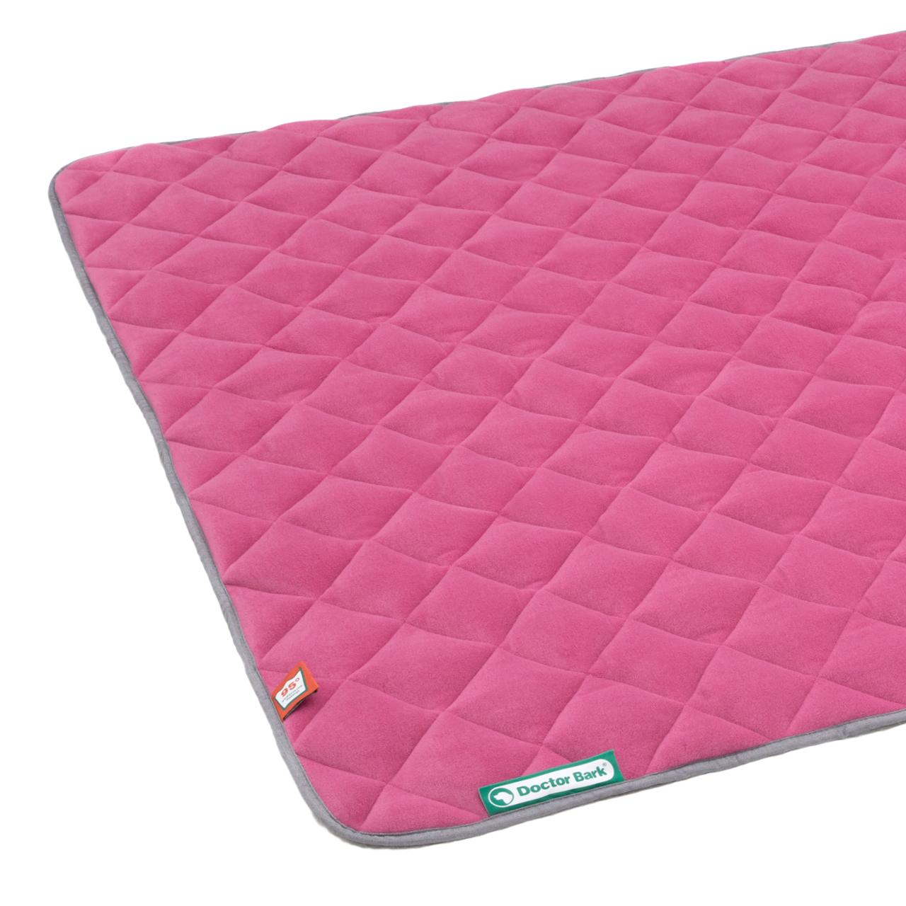 Fleece Steppdecke hot pink - hellgrau XL