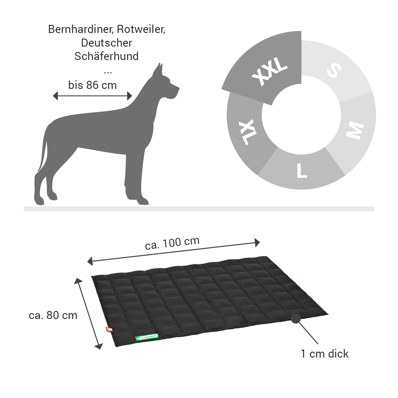 gepolsterte Einlegedecke für Doctor Bark Hundebett Gr. XXL - schwarz