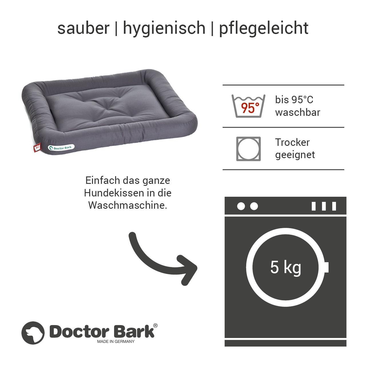 Lounge-Hundekissen / Hundebett orthopädisch Doctor Bark waschbar grau - Gr. M