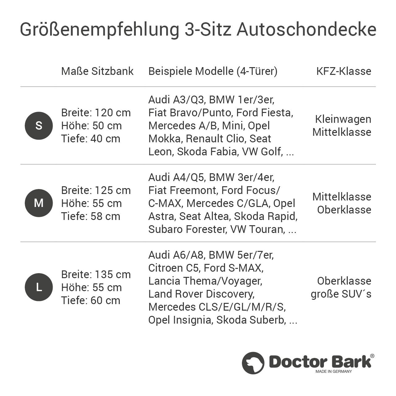 Doctor Bark - Autoschondecke für Hunde - Rückbank 3-Sitz Gr. S - schwarz