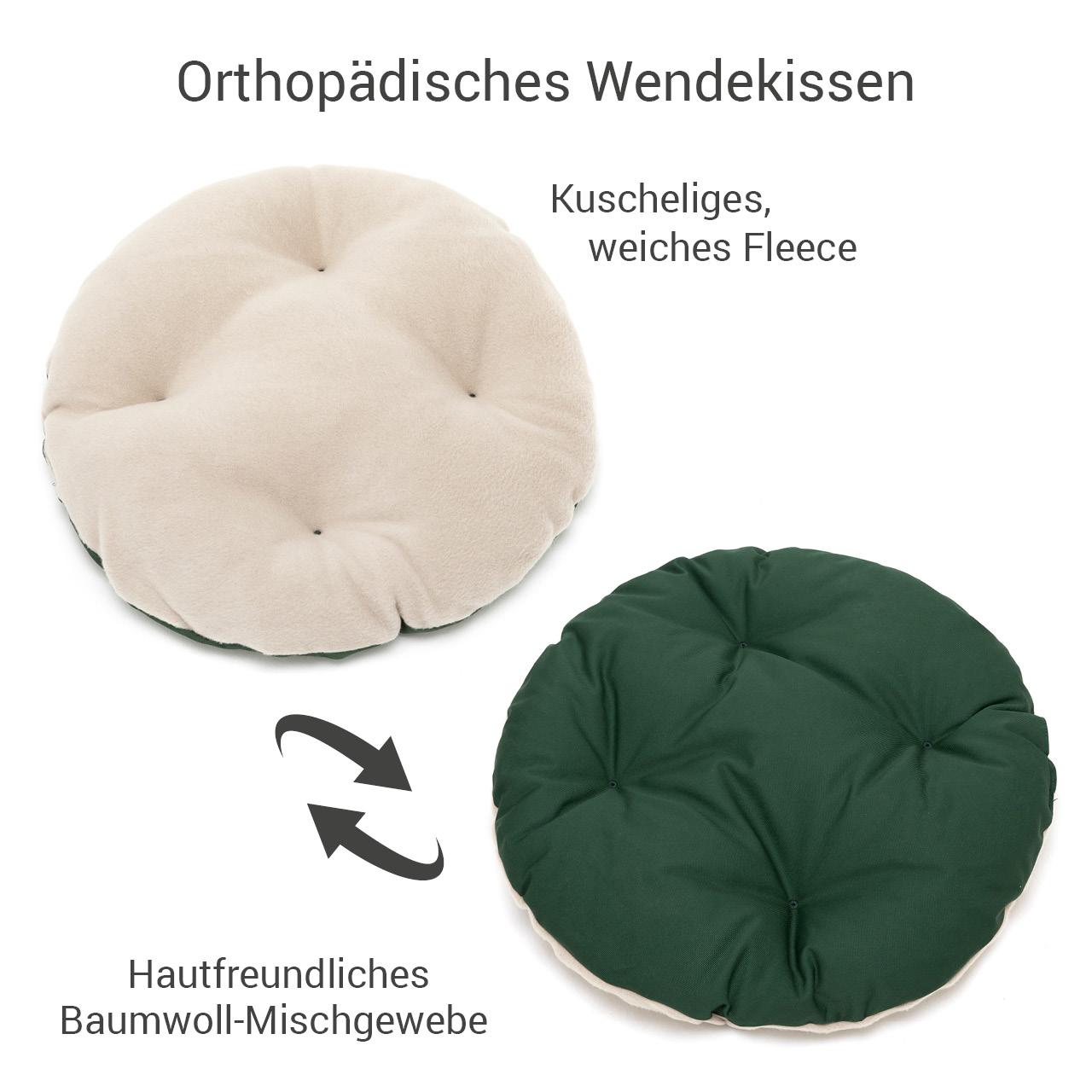rundes Hundebett mit orthopädischem Wendekissen Doctor Bark Gr. S - beige-moosgrün