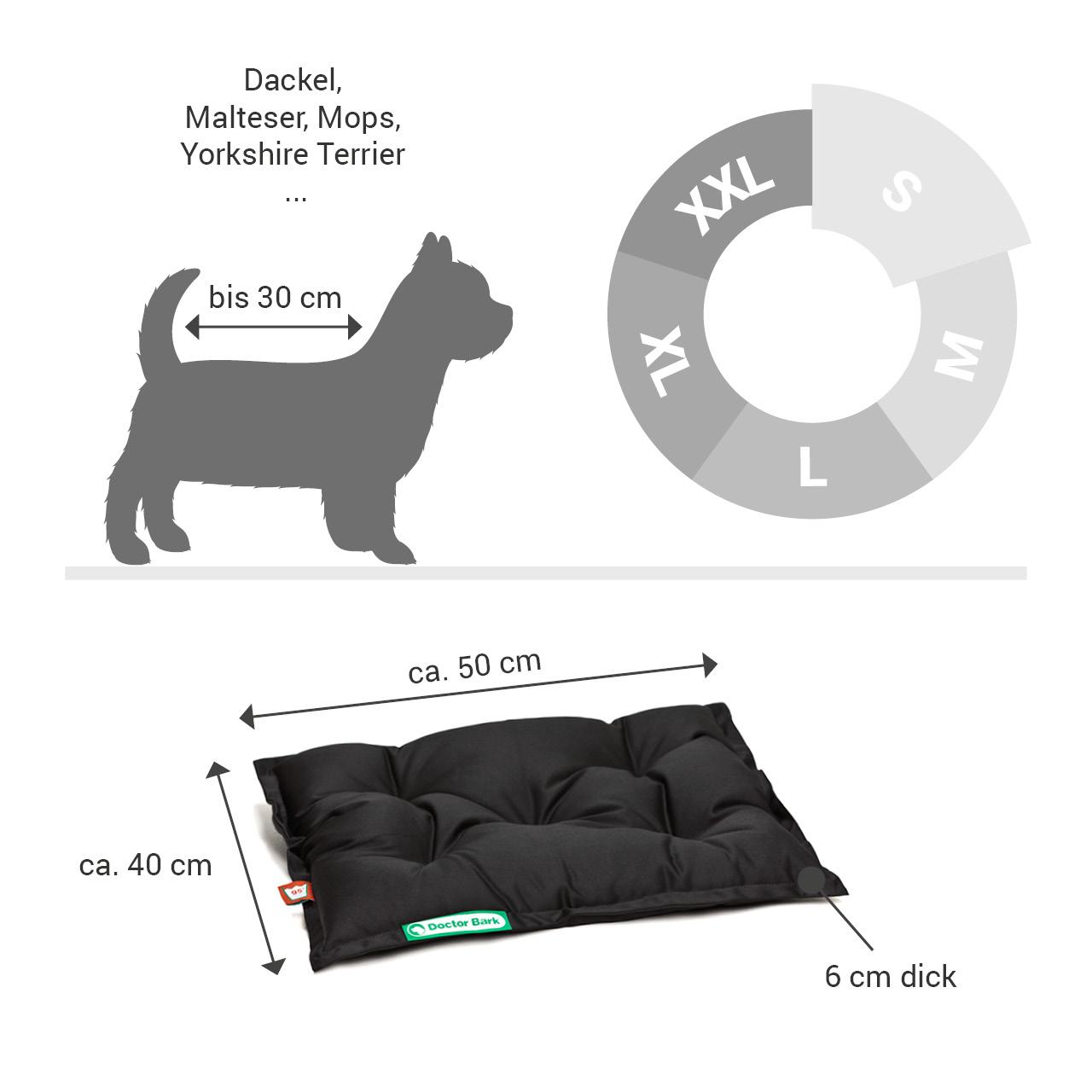 orthopädisches Einlegekissen für Doctor Bark Hundebett Gr. S - schwarz