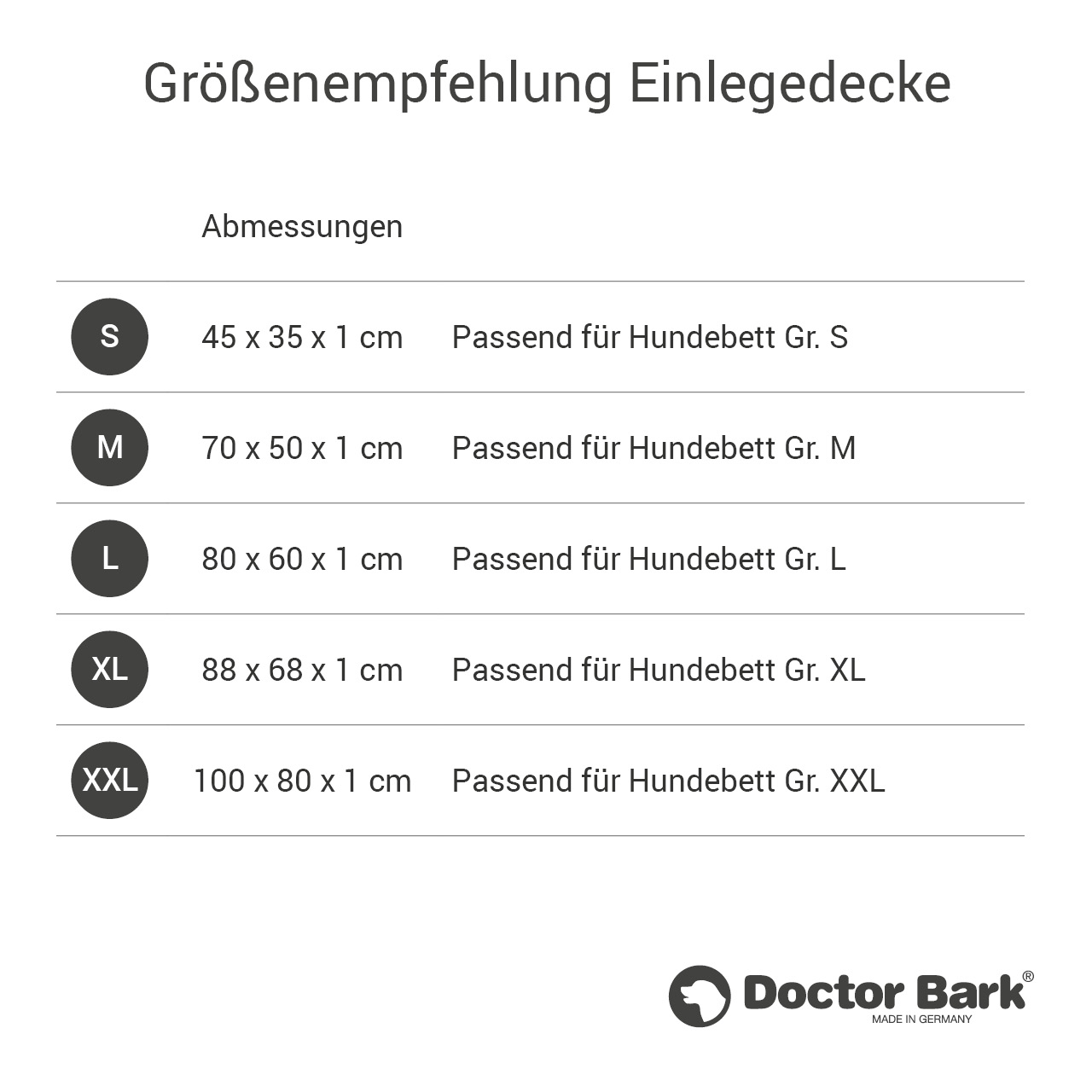 gepolsterte Einlegedecke für Doctor Bark Hundebett Gr. L - schwarz