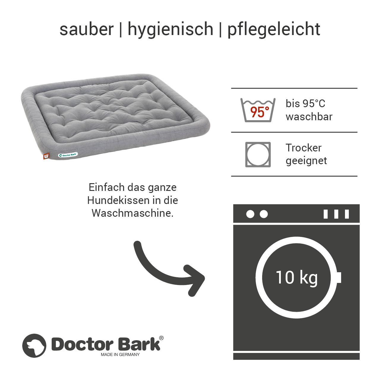 Lounge-Hundekissen / Hundebett orthopädisch Doctor Bark waschbar hellgrau - Gr. XXL