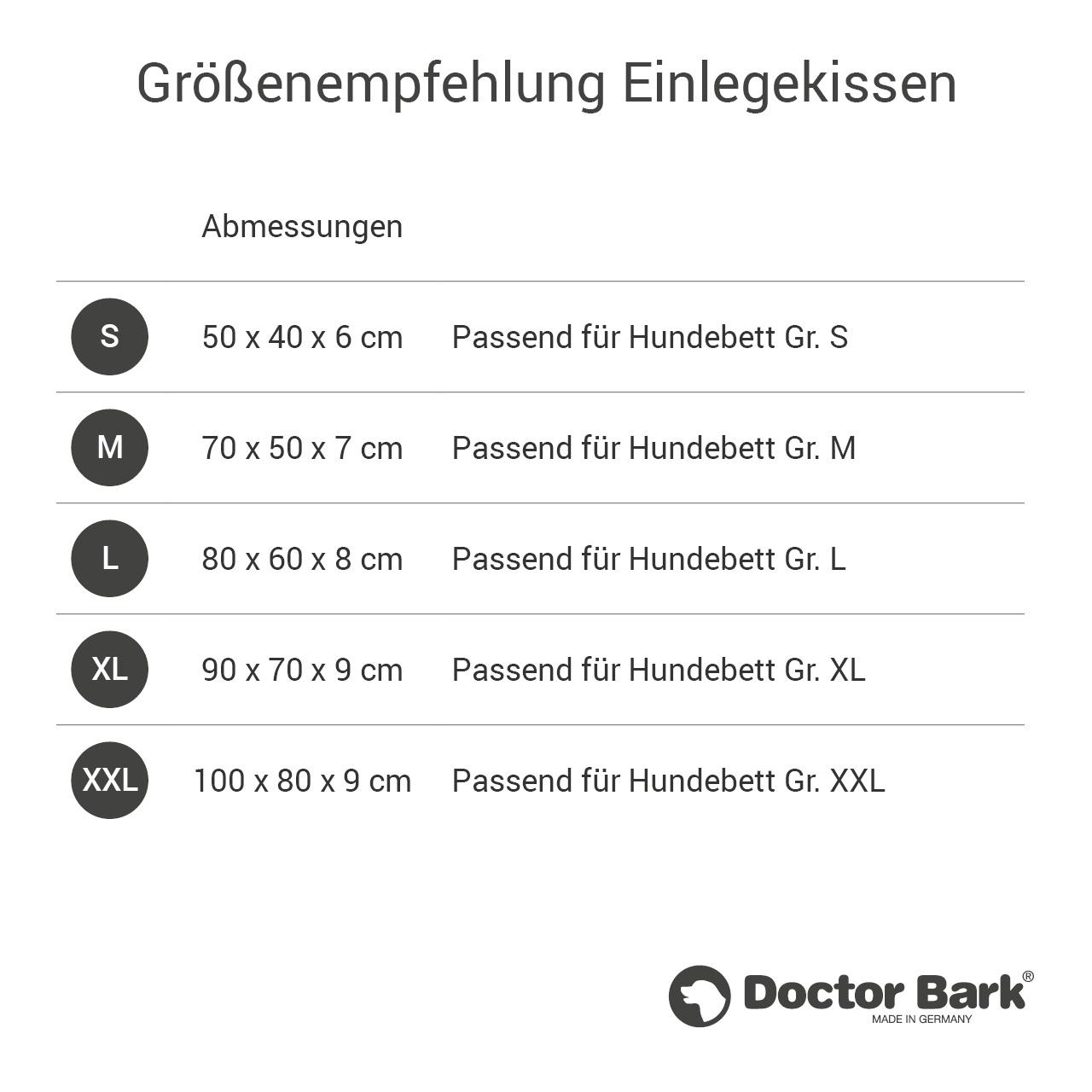 orthopädisches Einlegekissen für Doctor Bark Hundebett Gr. S - grau